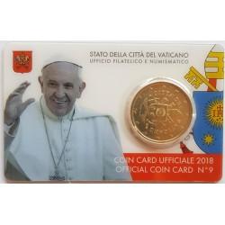 UE 50 Cts.€. 2018. CUNI. 7,82gr. (Coin Card Oficial). (VATICANO)-(Escudo de Armas). Ø26mm. SC
