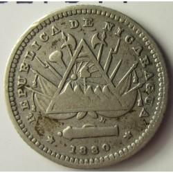 Nicaragua 5 Ctvo. 1880. H-(Heaton). AG. 1,25gr. Ley:0,800. Ø15mm. MBC-/MBC. KM. 2