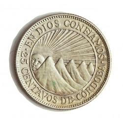 Nicaragua 25 Ctvo. 1936. AG. 6,25gr. Ley:0,000. Ø28,5mm. EBC/EBC+. KM. 14