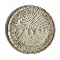 Nicaragua 50 Ctvo. 1912. H-(Heaton). AG. 12,5gr. Ley:0,800. Ø30mm. MBC-/MBC+. KM. 15