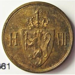 Noruega 1 Ore. 1907. AE. 2gr. Ø16mm. SC-/SC. (Parte de su tono original). KM. 361