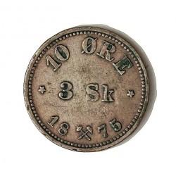 Noruega 3 Skilling. 1875. AG. 1,5gr. Ley:0,400. (10 Ore). Ø15mm. MBC+/EBC-. (Lev.patina). RARO/A. y mas en esta conservación. K