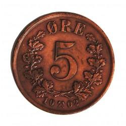Noruega 5 Ore. 1902. CU. 8gr. Ø27mm. EBC+/SC-. RARO/A. en esta conservacion. KM. 349
