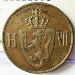 Noruega 5 Ore. 1907. CU. 8gr. Ø27mm. MBC-/MBC. KM. 364