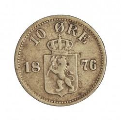 Noruega 10 Ore. 1876. AG. 1,5gr. Ley:0,400. Ø15mm. MBC. KM. 350