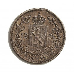 Noruega 12 Skilling. 1873. AG. 2,89gr. Ley:0,875. Ø18,5mm. MBC+/EBC-. (Golpe en listel.Rotura cuño anv.). MUY ESCASO/A. KM. 339