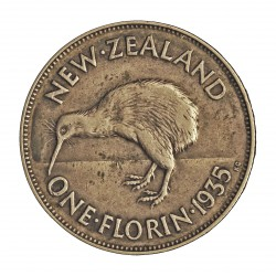 Nueva Zelanda 1 Florin. 1935. AG. 11,31gr. Ley:0,500. (Pajaro Kiwi). Ø28mm. MBC+/EBC-. KM. 4
