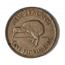 Nueva Zelanda 1 Florin. 1946. AG. 11,31gr. Ley:0,500. (Pajaro Kiwi-Espalda plana). Ø28mm. EBC+/SC-. RARO/A. en esta calidad. KM