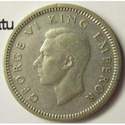 Nueva Zelanda 3 Pence. 1946. AG. 1,41gr. Ley:0,500. (Patu cruzado). Ø16mm. MBC/MBC+. KM. 7