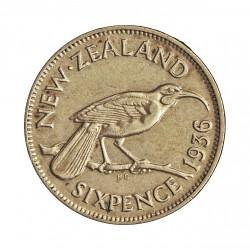 Nueva Zelanda 6 Pence. 1936. AG. 2,83gr. Ley:0,500. Ø19mm. EBC+/EBC. ESCASO/A. KM. 2