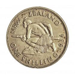 Nueva Zelanda 1 Shilling. 1934. AG. 5,65gr. Ley:0,500. (Indigena con lanza). Ø23mm. EBC/EBC+. ESCASO/A. KM. 3