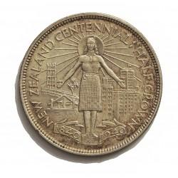 Nueva Zelanda ½ Corona. 1940. AG. 14,14gr. Ley:0,500. (Cº de N.Zelanda). Ø32mm. EBC+/SC-. MUY ESCASO/A. asi. KM. 14