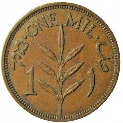 Palestina 1 Mils. 1941. AE. 3,2gr. Ø21mm. EBC-/EBC. (Patina). KM. 1