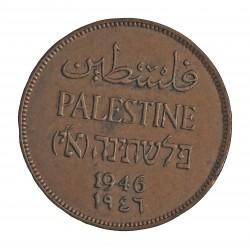 Palestina 2 Mils. 1946. AE. 7,65gr. Ø28mm. EBC-/EBC. (Patina). MUY ESCASO/A. y mas asi. KM. 2