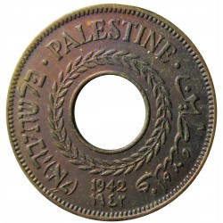 Palestina 5 Mils. 1942. AE. 3gr. Ø20mm. EBC/EBC+. (Patina.). KM. 3a