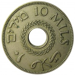 Palestina 10 Mils. 1939. CUNI. 6,5gr. Ø27mm. EBC-. (Lev.patina). KM. 4