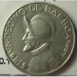 Panama 1  Decimo. 1947. AG. 2,5gr. Ley:0,900. Ø18mm. EBC-/EBC. KM. 10.1