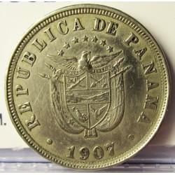 Panama 2,5  Centesimos. 1907. CUNI. 4,9gr. Ø21mm. MBC+/EBC-. KM. 7.1
