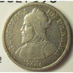 Panama 5  Centesimos. 1904. AG. 2,5gr. Ley:0,900. Ø18mm. MBC-/MBC. KM. 2