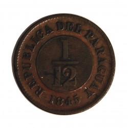 Paraguay 0,08 Reales. 1845. CU. 6,3gr. (1/12º de real). Ø23mm. MBC-. RARO/A. KM. 1.2