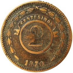 Paraguay 2 Cts. 1870. CU. 9,35gr. Ø30mm. MBC. (Gpcto.Lev.limpiada). KM. 3