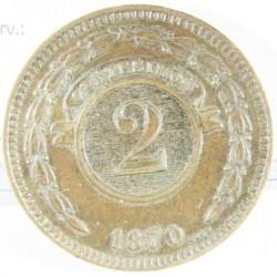 Paraguay 2 Cts. 1870. CU. 9,35gr. Ø30mm. MBC+. KM. 3
