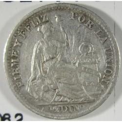 Peru ½  Dinero. 1904. /894. J.F.  AG. 1,25gr. Ley:0,900. Ø15mm. MBC-/MBC. KM. 206.2