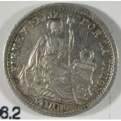Peru ½  Dinero. 1905. J.F.  AG. 1,25gr. Ley:0,900. Ø15mm. EBC+/SC-. KM. 206.2
