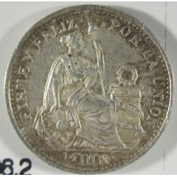 Peru ½  Dinero. 1907. F.G.  AG. 1,25gr. Ley:0,900. Ø15mm. SC. KM. 206.2