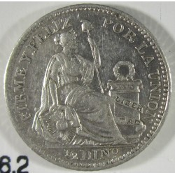 Peru ½  Dinero. 1914. F.G.  AG. 1,25gr. Ley:0,900. Ø15mm. SC. (Tono original). KM. 206.2