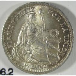 Peru ½  Dinero. 1916. F.G.  AG. 1,25gr. Ley:0,900. Ø15mm. SC. (Tono original). KM. 206.2