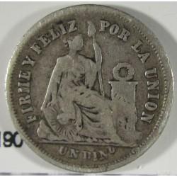 Peru 1  Dinero. 1866. Y.B. AG. 2,5gr. Ley:0,900. Ø18mm. MBC-. KM. 190