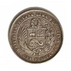 Peru 1  Pesetas. 1880. Lima. BF. AG. 5gr. Ley:0,900. Ø23mm. EBC-/EBC. MUY ESCASO/A. KM. 200.1