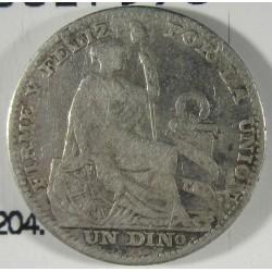 Peru 1  Dinero. 1890. T.F. AG. 2,5gr. Ley:0,900. Ø18mm. BC+/MBC-. KM. 204.1