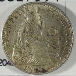 Peru 1  Dinero. 1897. V.N.  AG. 2,5gr. Ley:0,900. Ø18mm. SC-. KM. 204.2
