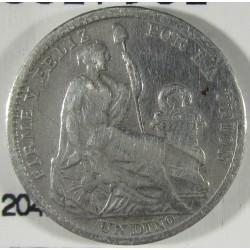 Peru 1  Dinero. 1907. F.G./J.F.  AG. 2,5gr. Ley:0,900. Ø17mm. MBC-. KM. 204.2