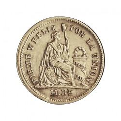 Peru ½  Reales. 1860. Y.B.  AG. 1,25gr. Ley:0,900. Ø15mm. SC-/SC. KM. 180