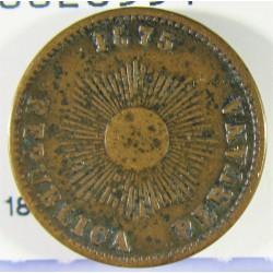 Peru 1  Ctvo.  1875. AE. 4,85gr. Ø19mm. MBC/MBC+. KM. 187.1a