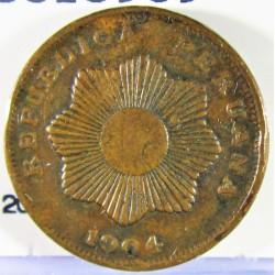 Peru 1  Ctvo.  1904. AE. 4,85gr. Ø19mm. MBC-/MBC. (Gpctos.cto.). KM. 208.1