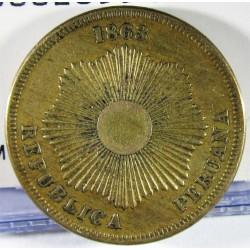 Peru 2  Ctvo.  1863. AE. 6,92gr. Ø24mm. MBC+/EBC-. KM. 188.1