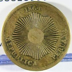 Peru 2  Ctvo.  1864. AE. 6,92gr. Ø24mm. MBC. KM. 188.1