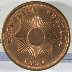 Peru 2  Ctvo.  1937. AE. 6,92gr. Ø24mm. SC-. (Gran parte de su tono original). KM. 212.1
