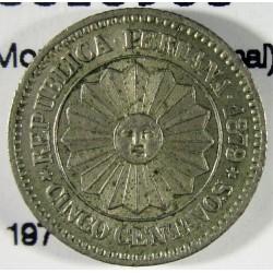 Peru 5  Ctvo.  1879. CUNI. 2,5gr. (Moneda Provisional). Ø17mm. SC-. KM. 197