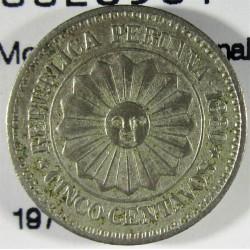 Peru 5  Ctvo.  1880. CUNI. 2,5gr. (Moneda Provisional). Ø17mm. EBC+/SC-. KM. 197