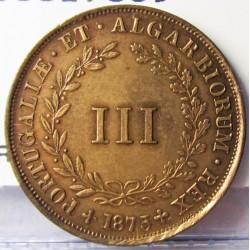 Portugal 3 Reis. 1875. CU. 4gr. Ø23mm. EBC. (Lev.marquitas). KM. 517 - FERR. 3