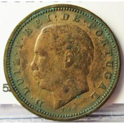 Portugal 5 Reis. 1884. AE. 3gr. Ø20mm. MBC-. KM. 525 - FERR. 18