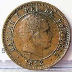 Portugal 5 Reis. 1892. AE. 3gr. Ø21mm. MBC. KM. 530 - FERR. 3