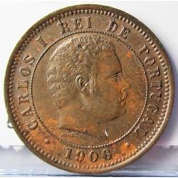 Portugal 5 Reis. 1906. AE. 2,8gr. Ø20mm. SC-/SC. (Bonita patina). KM. 530