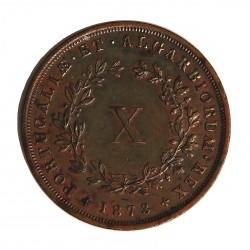 Portugal 10 Reis. 1873. AE. 12,7gr. Ø27mm. EBC-/EBC. (Lev.marquitas). RARO/A. en esta conservacion. KM. 514 - FERR. 25