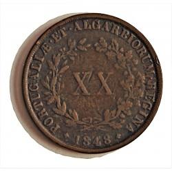 Portugal 20 Reis. 1848. CU. 25,5gr. Ø37mm. MBC-. KM. 482 - FERR. 46